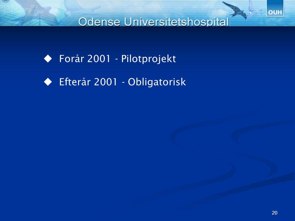  Forår 2001 - Pilotprojekt  Efterår 2001 - Obligatorisk