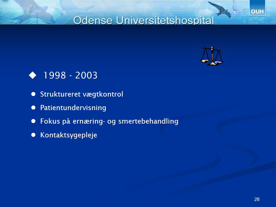  1998 - 2003  Struktureret vægtkontrol  Patientundervisning