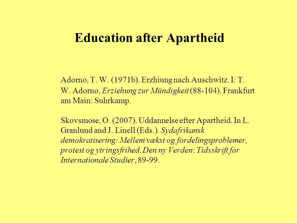 Education after Apartheid
