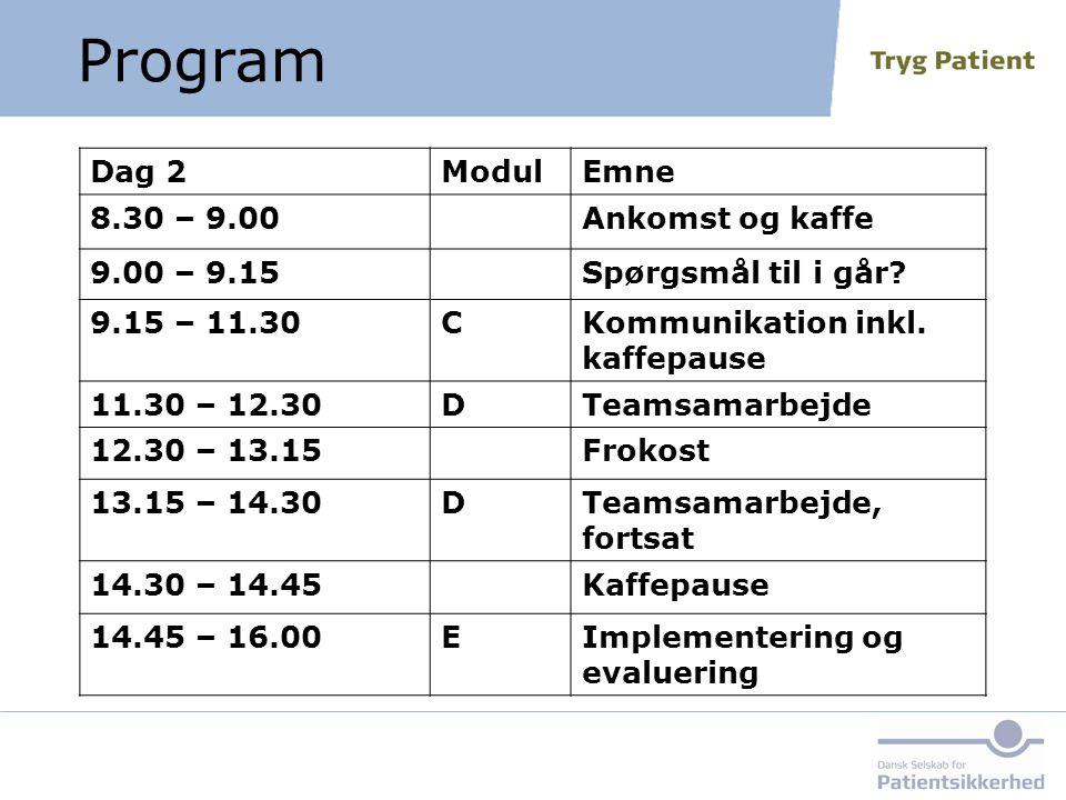 Program Dag 2 Modul Emne 8.30 – 9.00 Ankomst og kaffe 9.00 – 9.15