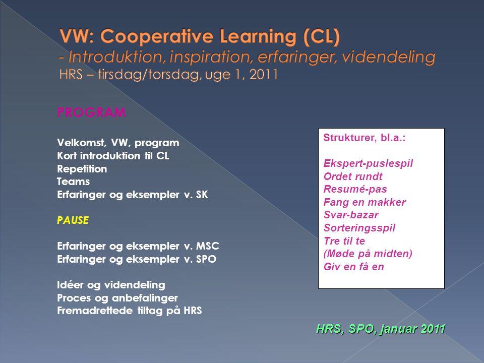VW: Cooperative Learning (CL) - Introduktion, inspiration, erfaringer, videndeling HRS – tirsdag/torsdag, uge 1, 2011
