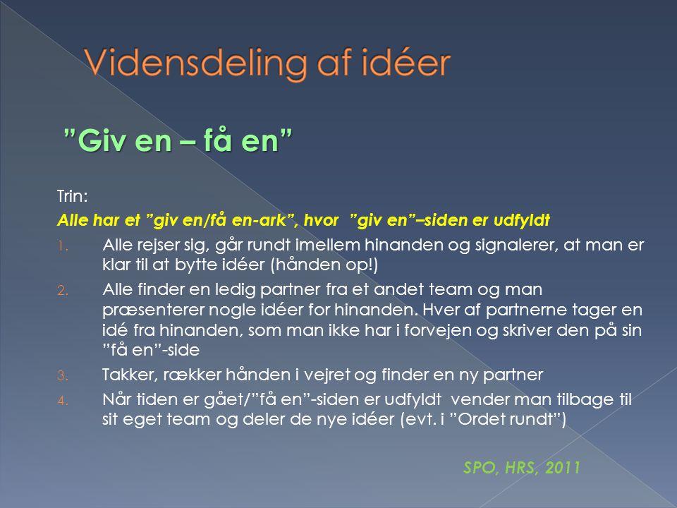 Vidensdeling af idéer Giv en – få en Trin: