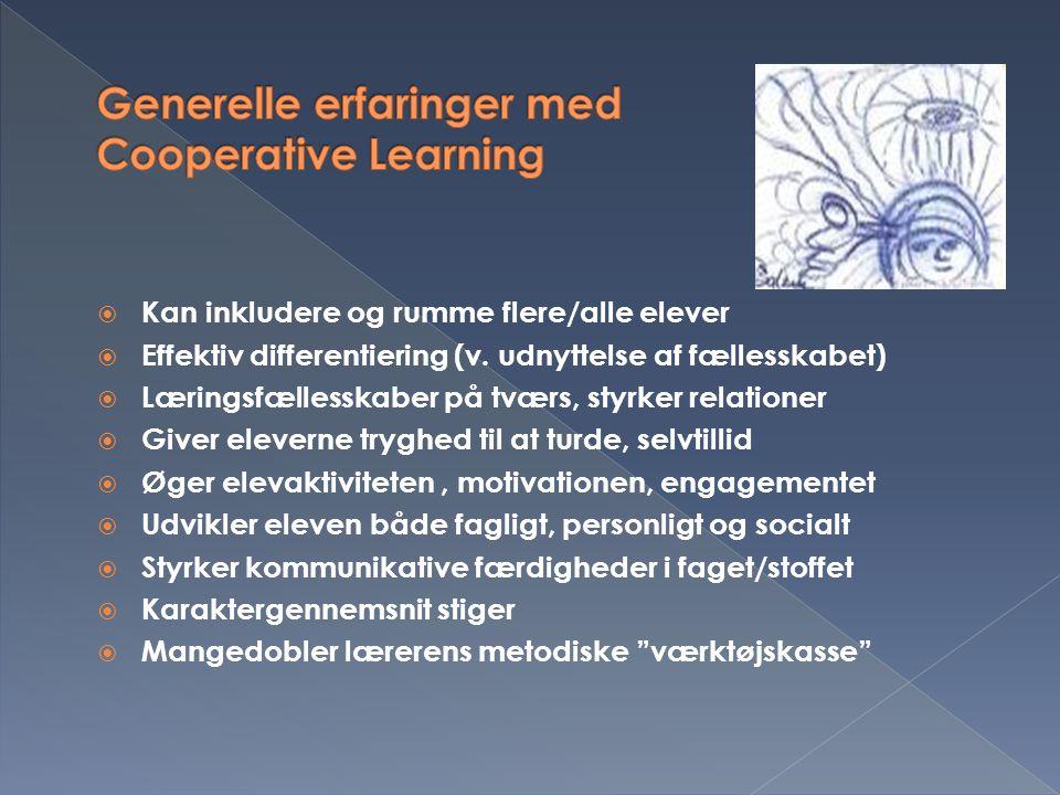 Generelle erfaringer med Cooperative Learning