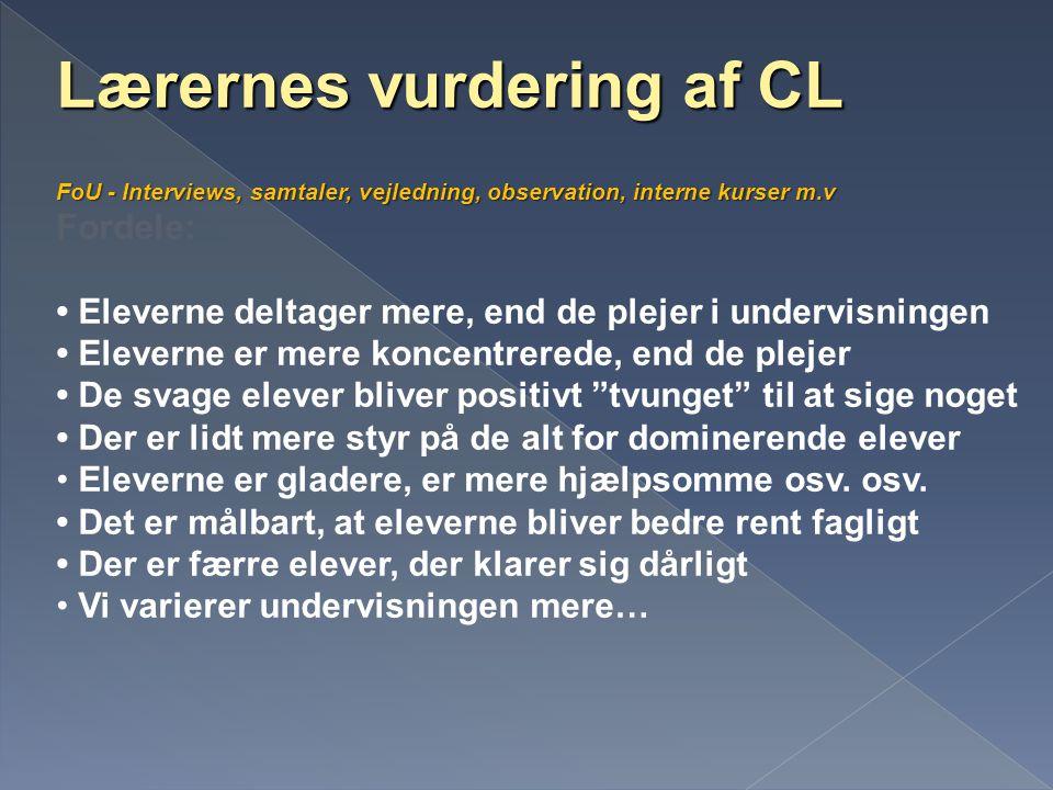 Lærernes vurdering af CL