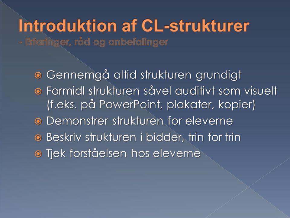Introduktion af CL-strukturer - Erfaringer, råd og anbefalinger
