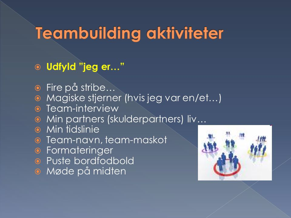 Teambuilding aktiviteter
