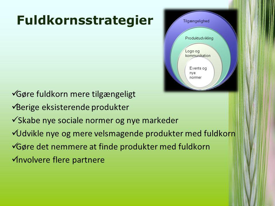Fuldkornsstrategier Gøre fuldkorn mere tilgængeligt
