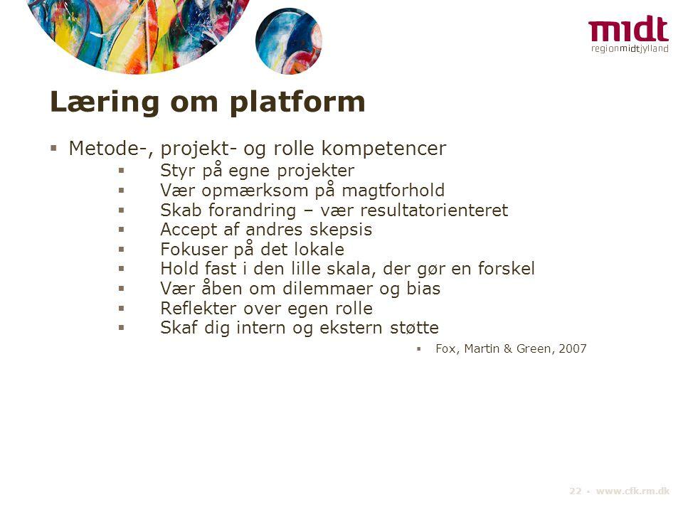 Læring om platform Metode-, projekt- og rolle kompetencer