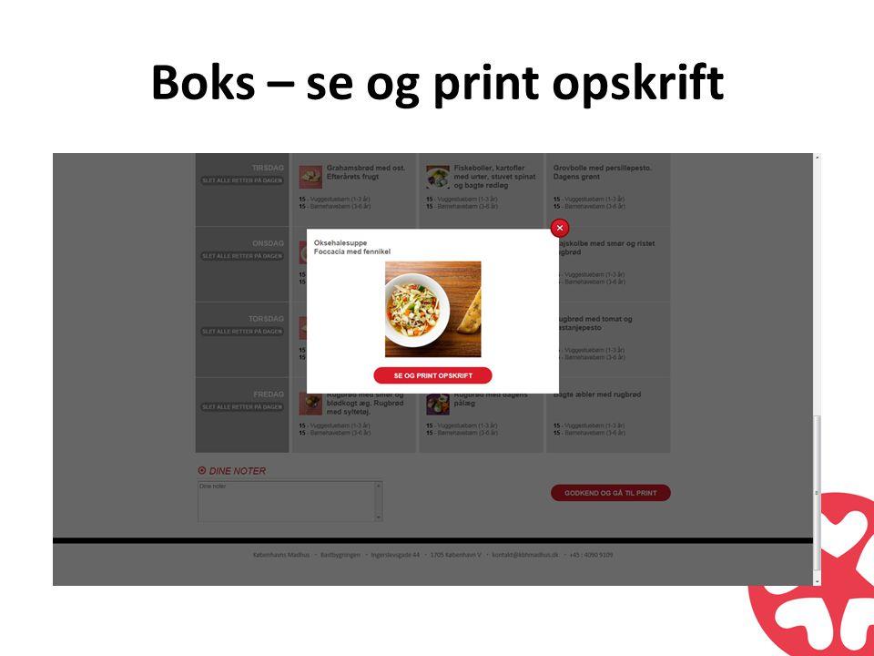 Boks – se og print opskrift