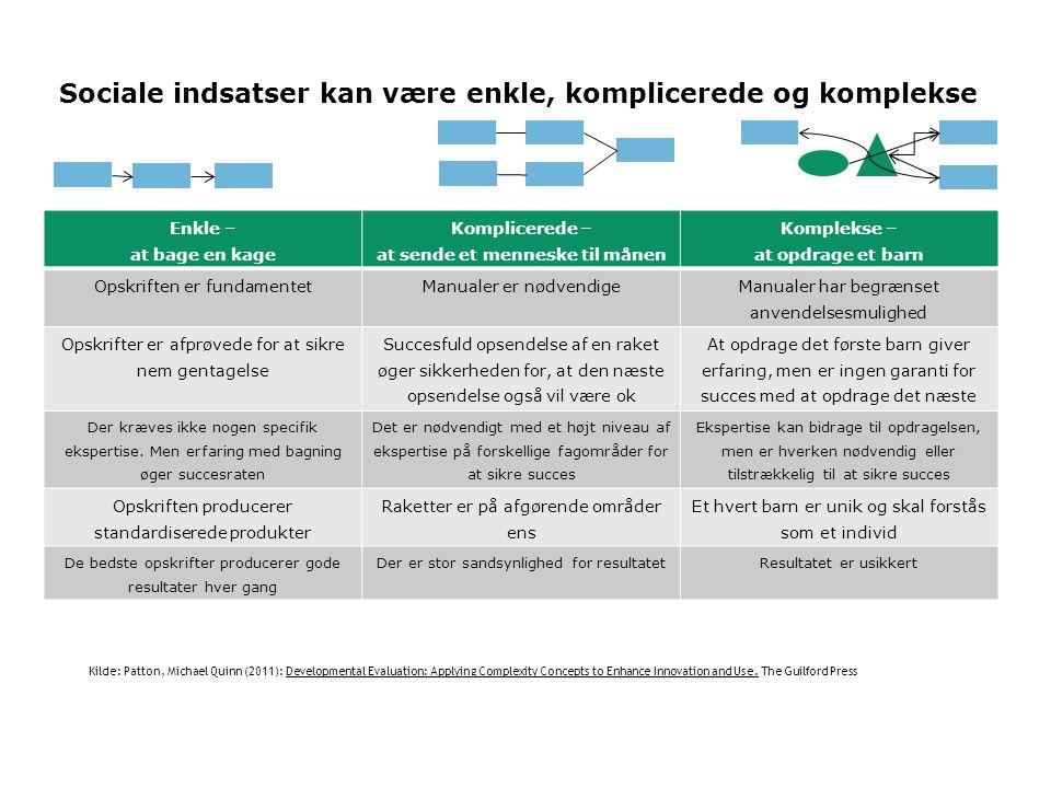 Sociale indsatser kan være enkle, komplicerede og komplekse