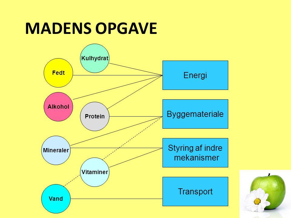 MADENS OPGAVE Energi Byggemateriale Styring af indre mekanismer