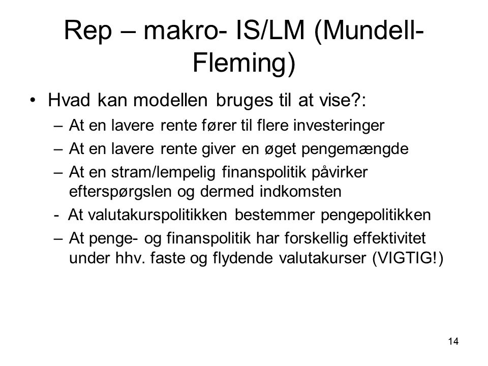 Rep – makro- IS/LM (Mundell-Fleming)