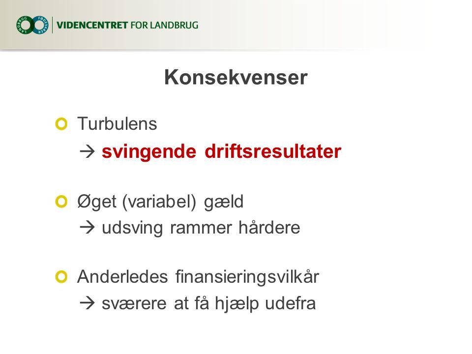 Konsekvenser Turbulens  svingende driftsresultater