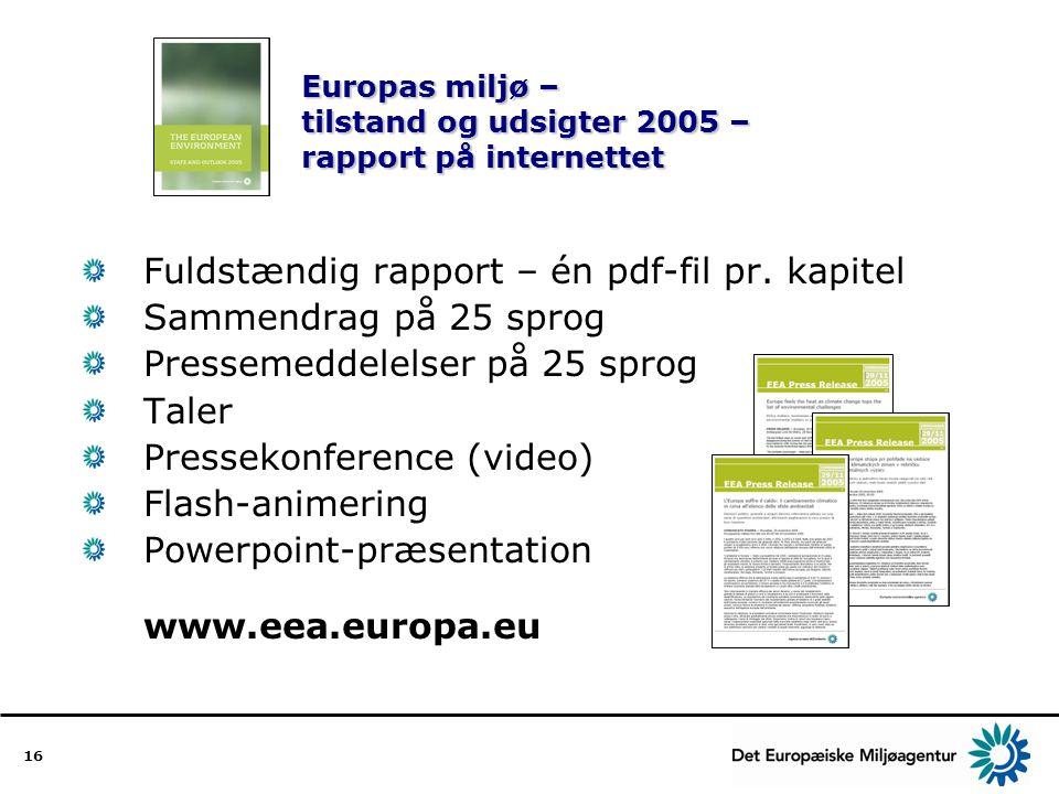 Europas miljø – tilstand og udsigter 2005 – rapport på internettet