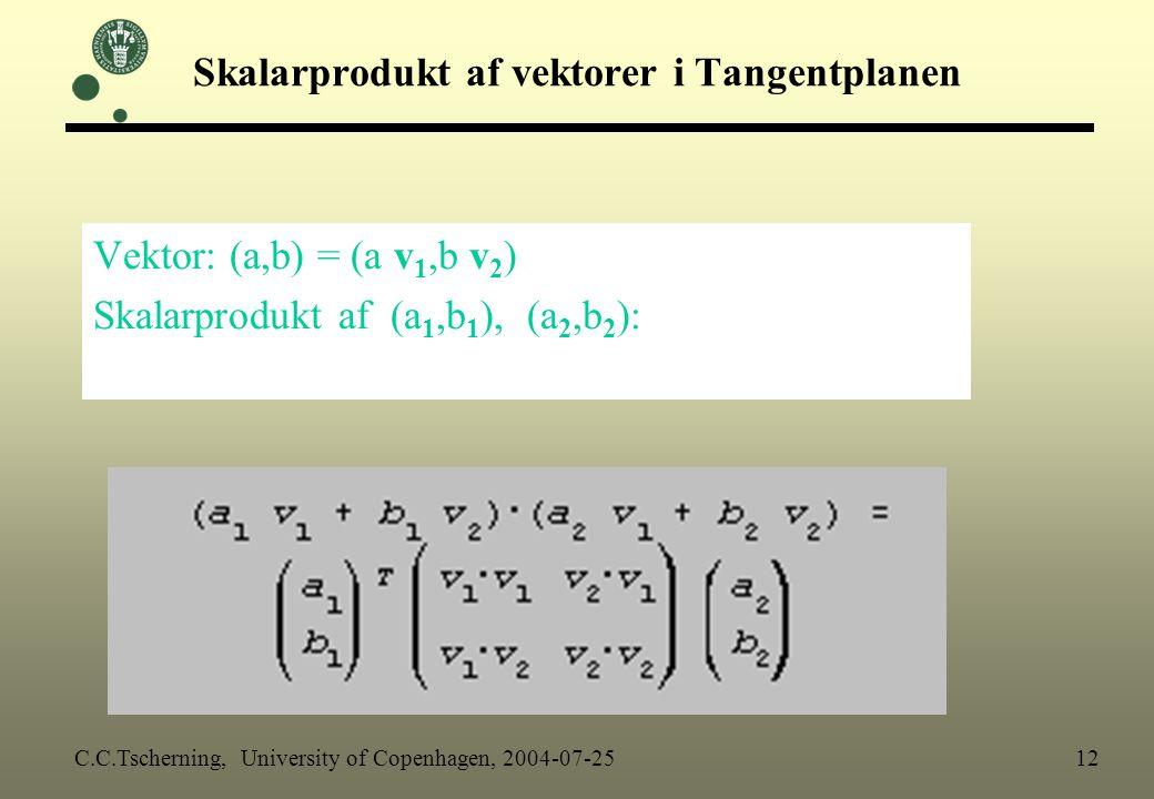 Skalarprodukt af vektorer i Tangentplanen