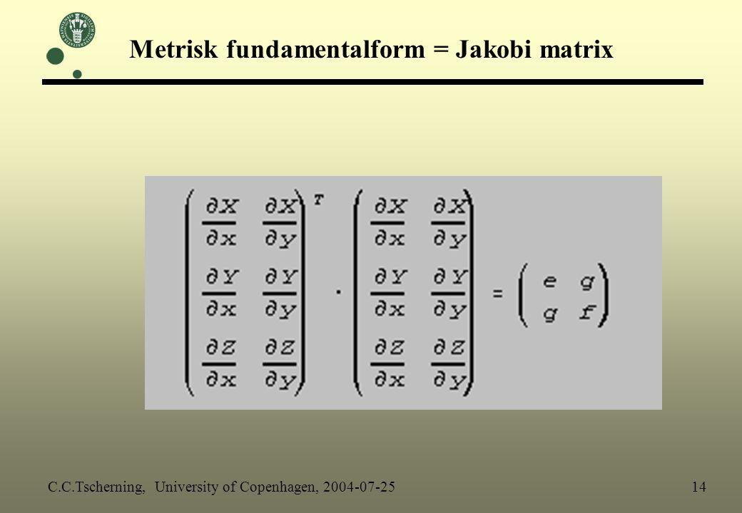 Metrisk fundamentalform = Jakobi matrix