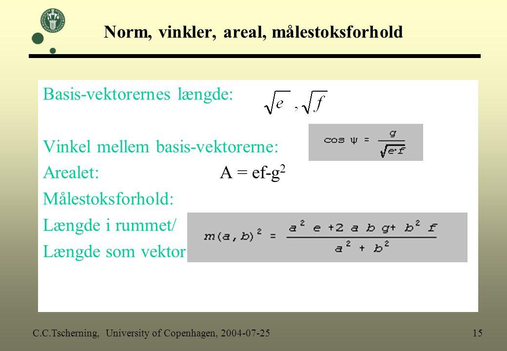 Norm, vinkler, areal, målestoksforhold
