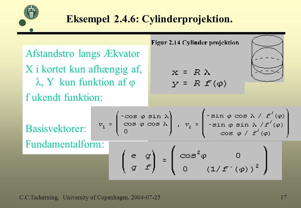 Eksempel 2.4.6: Cylinderprojektion.