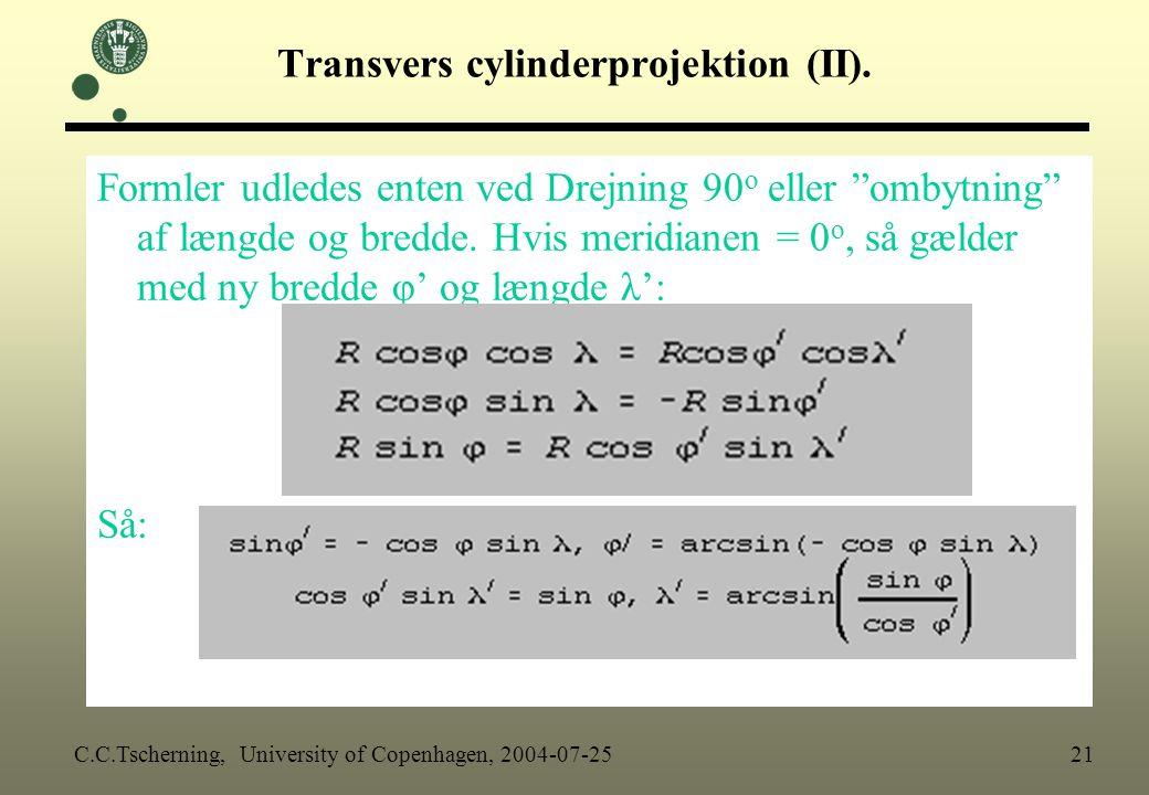 Transvers cylinderprojektion (II).