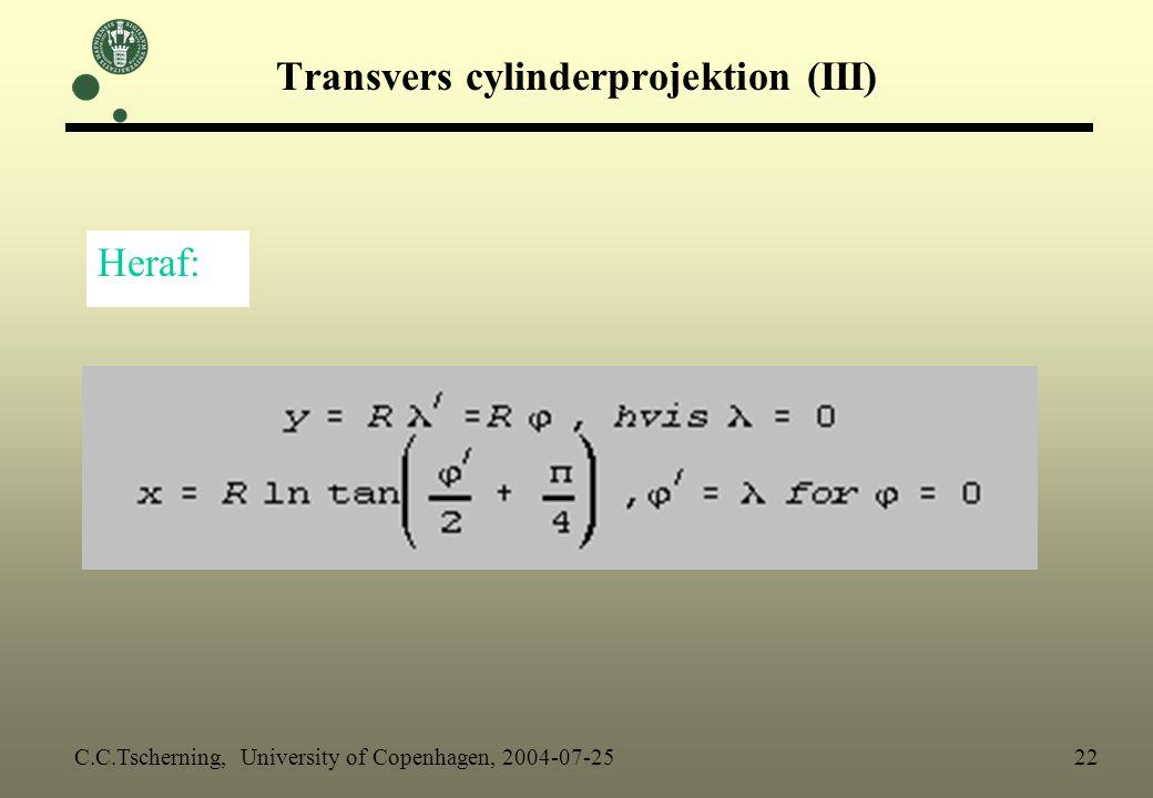 Transvers cylinderprojektion (III)