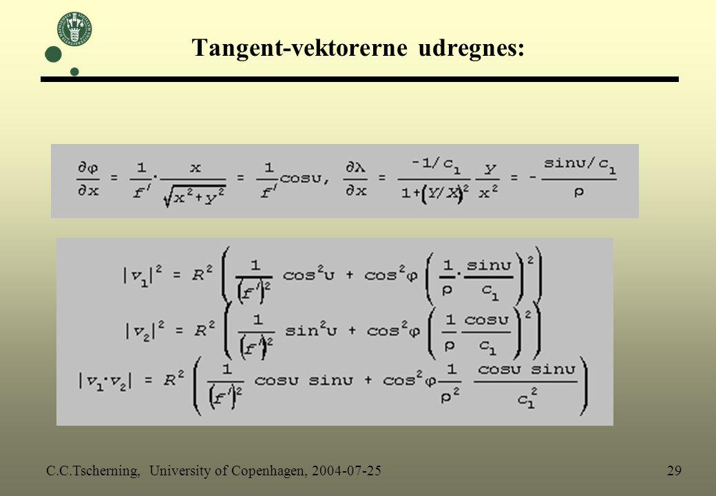Tangent-vektorerne udregnes: