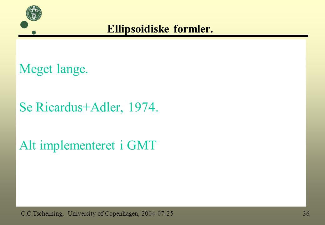 Ellipsoidiske formler.