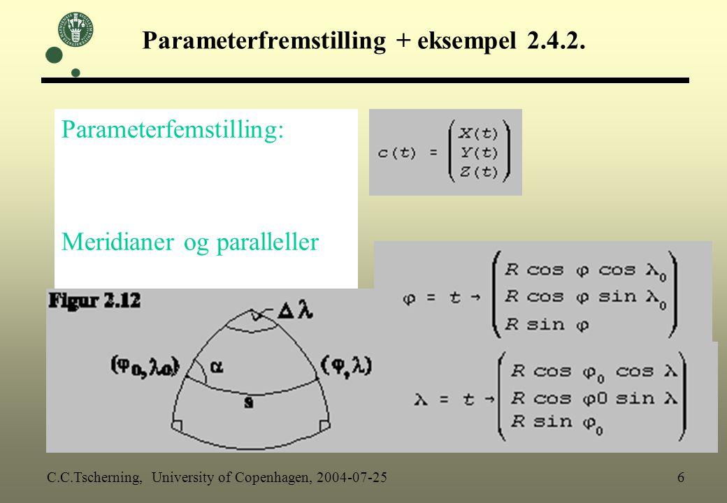 Parameterfremstilling + eksempel 2.4.2.