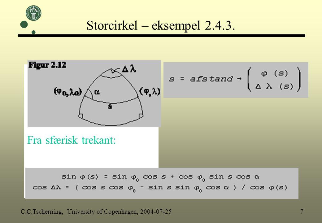 Storcirkel – eksempel 2.4.3. Fra sfærisk trekant:
