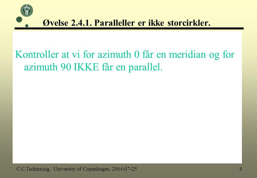 Øvelse 2.4.1. Paralleller er ikke storcirkler.