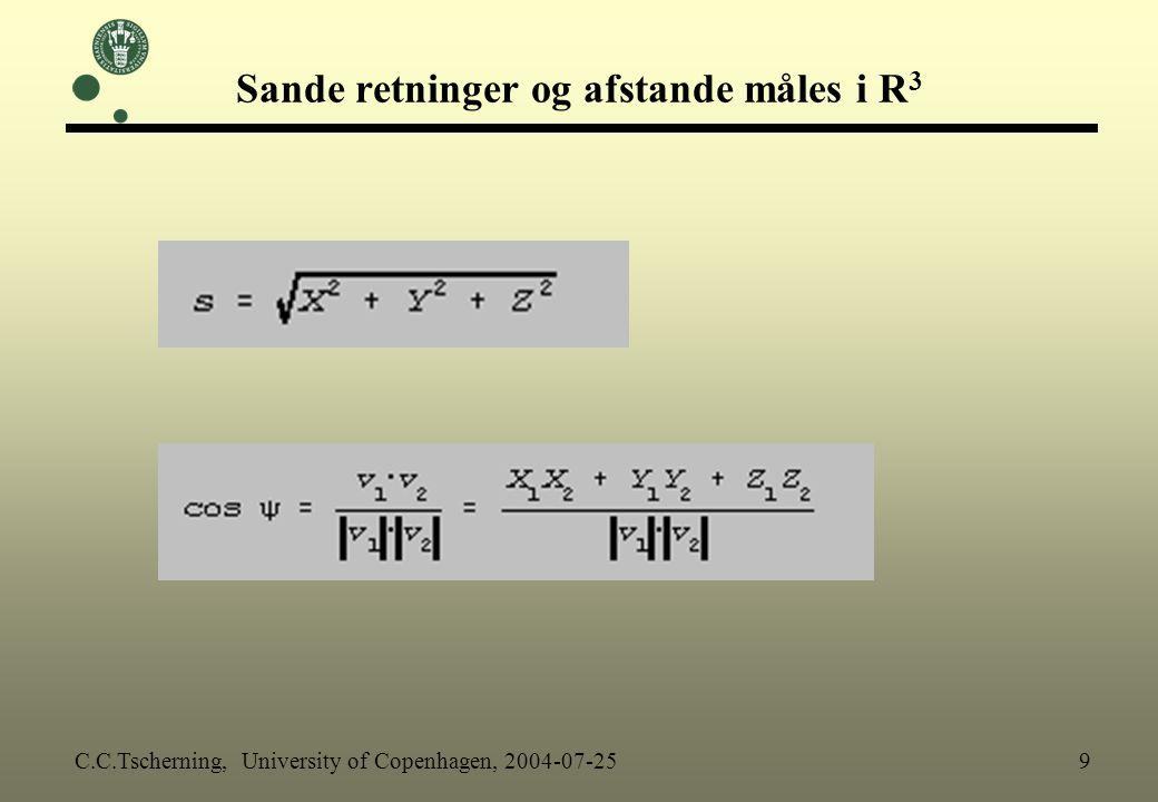 Sande retninger og afstande måles i R3