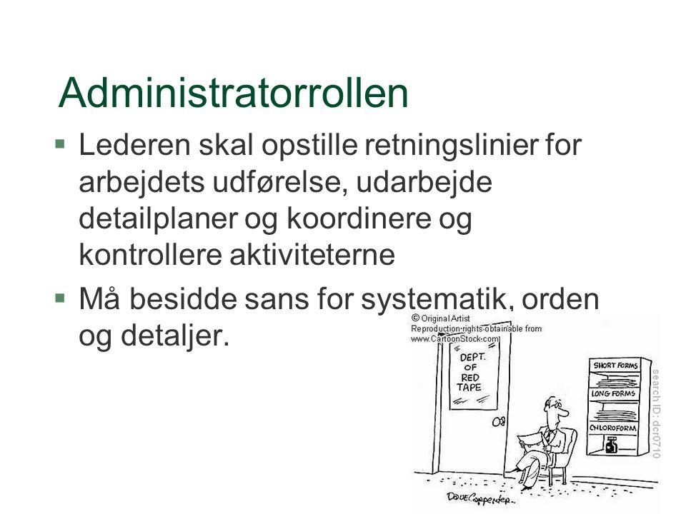 Administratorrollen Lederen skal opstille retningslinier for arbejdets udførelse, udarbejde detailplaner og koordinere og kontrollere aktiviteterne.