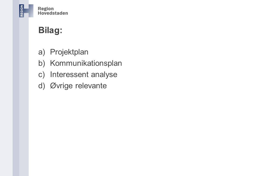 Bilag: Projektplan Kommunikationsplan Interessent analyse
