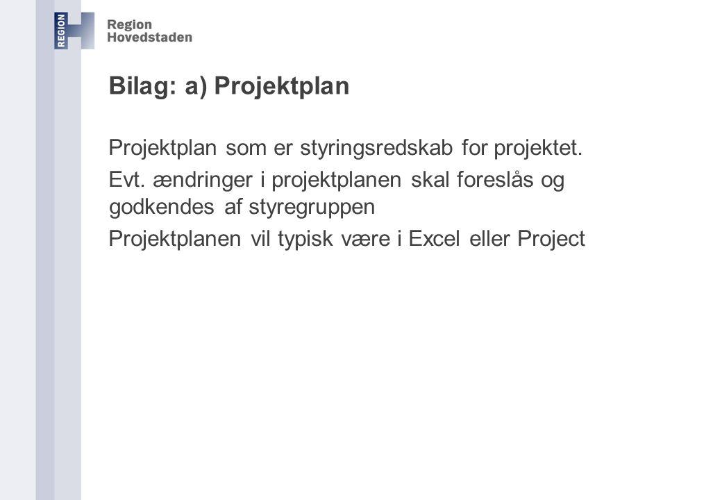 Bilag: a) Projektplan Projektplan som er styringsredskab for projektet. Evt. ændringer i projektplanen skal foreslås og godkendes af styregruppen.