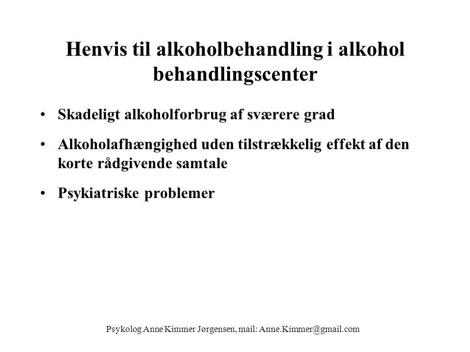 Henvis til alkoholbehandling i alkohol behandlingscenter