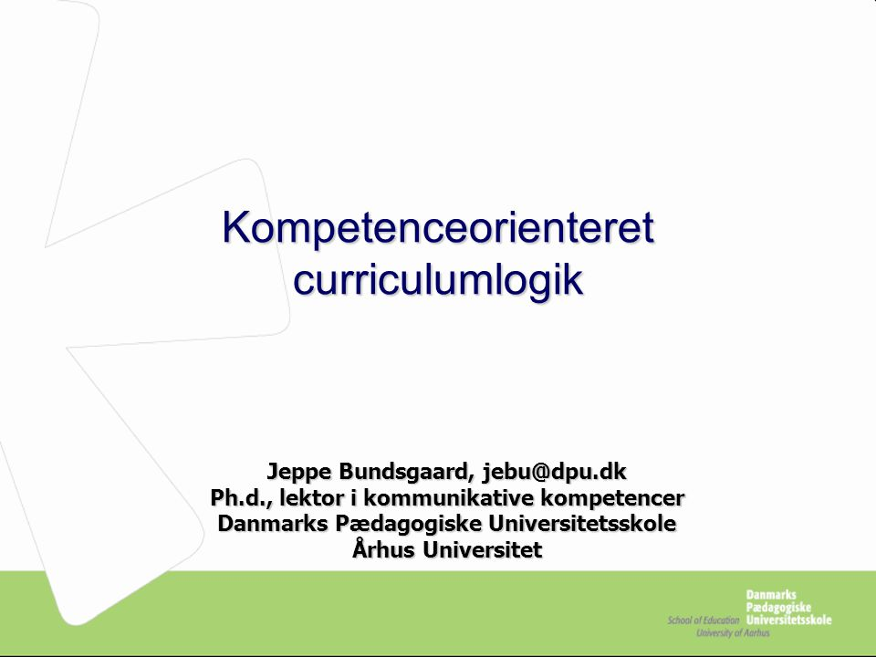 Kompetenceorienteret curriculumlogik