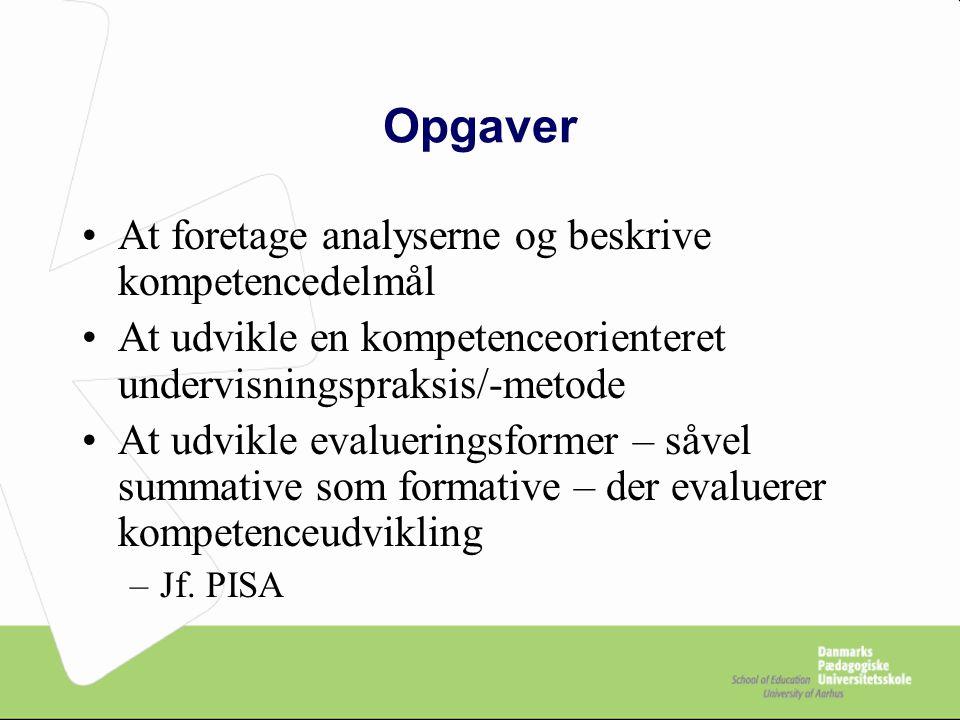 Opgaver At foretage analyserne og beskrive kompetencedelmål
