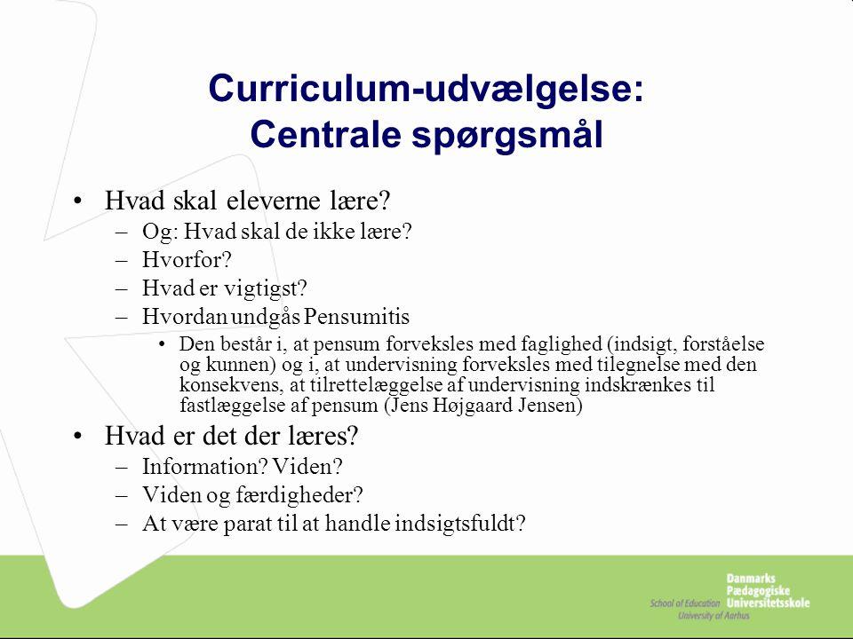Curriculum-udvælgelse: Centrale spørgsmål