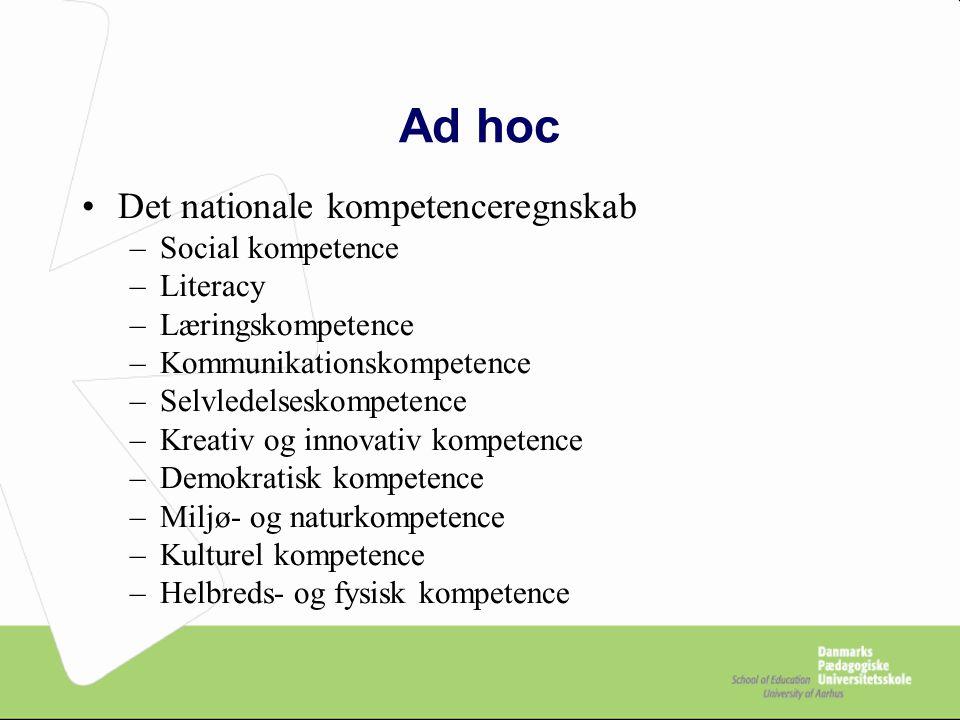Ad hoc Det nationale kompetenceregnskab Social kompetence Literacy