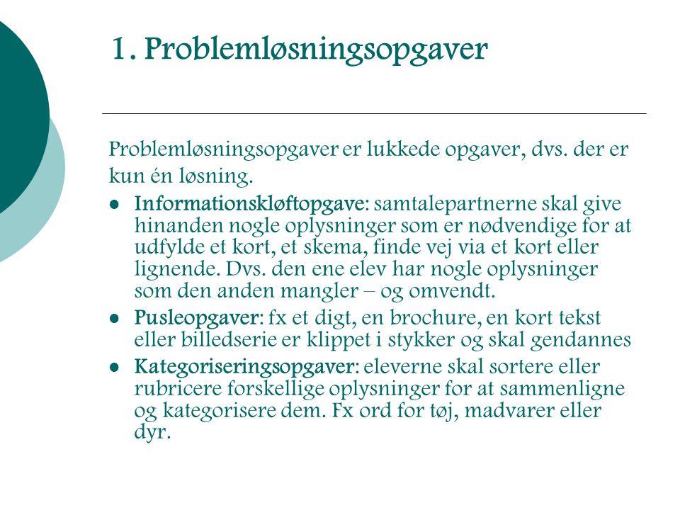 1. Problemløsningsopgaver