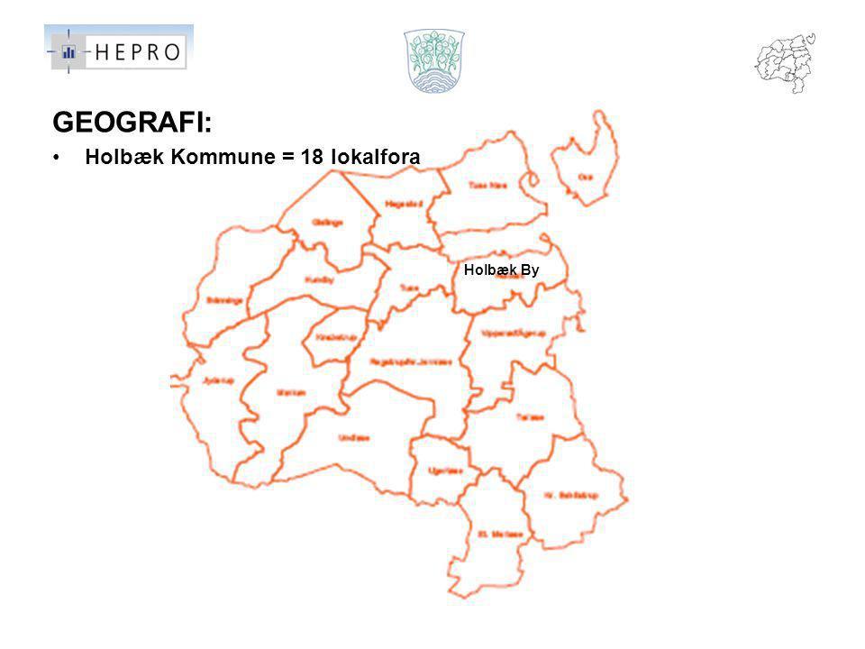 GEOGRAFI: Holbæk Kommune = 18 lokalfora Holbæk By