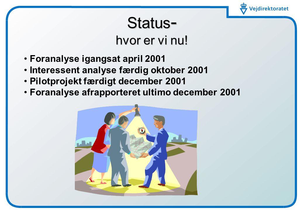 Status- hvor er vi nu! Foranalyse igangsat april 2001