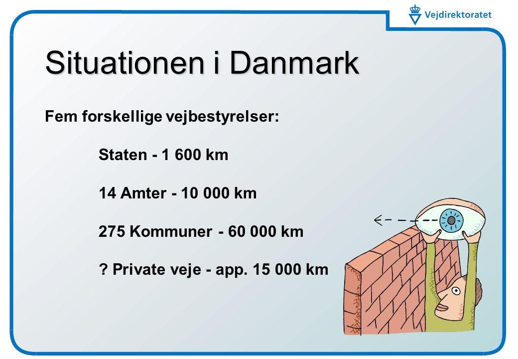 Situationen i Danmark Fem forskellige vejbestyrelser: