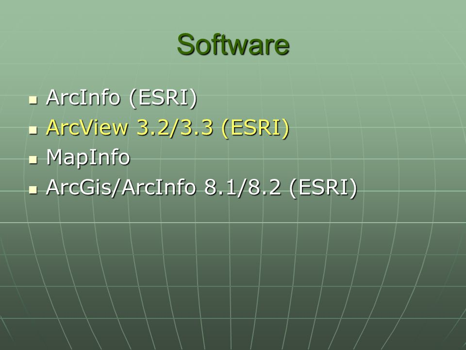 Software ArcInfo (ESRI) ArcView 3.2/3.3 (ESRI) MapInfo