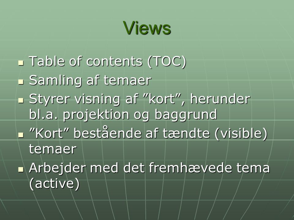 Views Table of contents (TOC) Samling af temaer