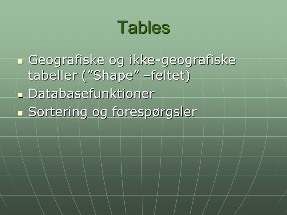 Tables Geografiske og ikke-geografiske tabeller ( Shape –feltet)