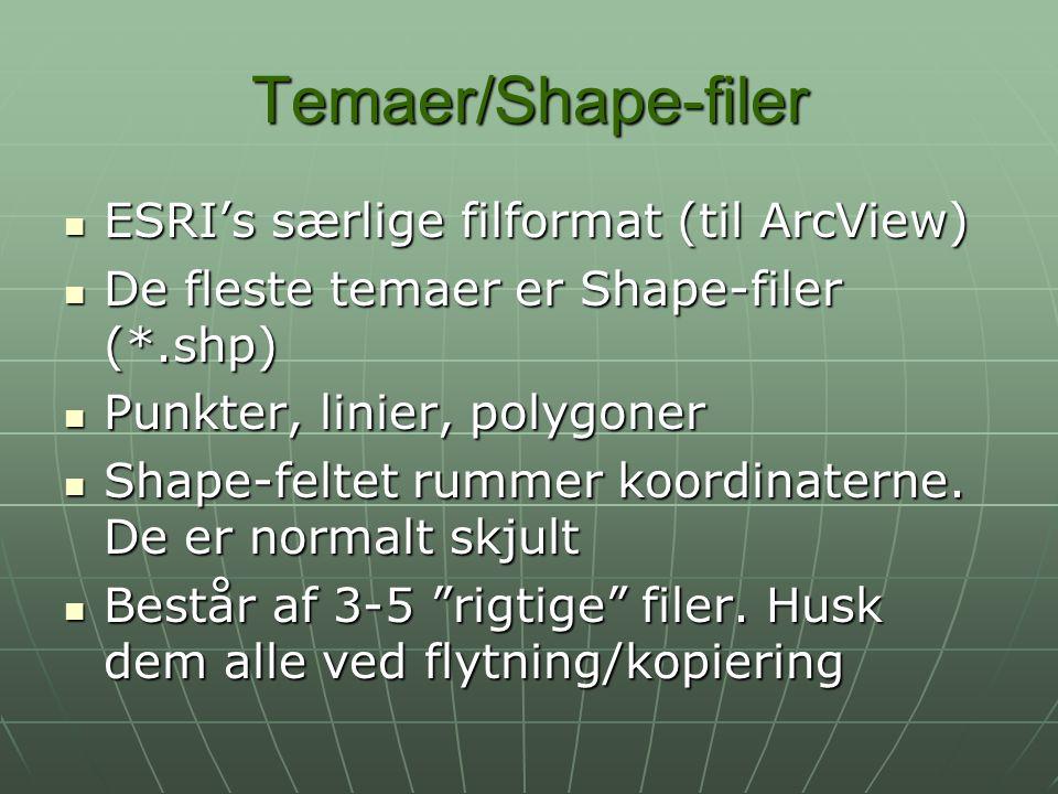 Temaer/Shape-filer ESRI's særlige filformat (til ArcView)