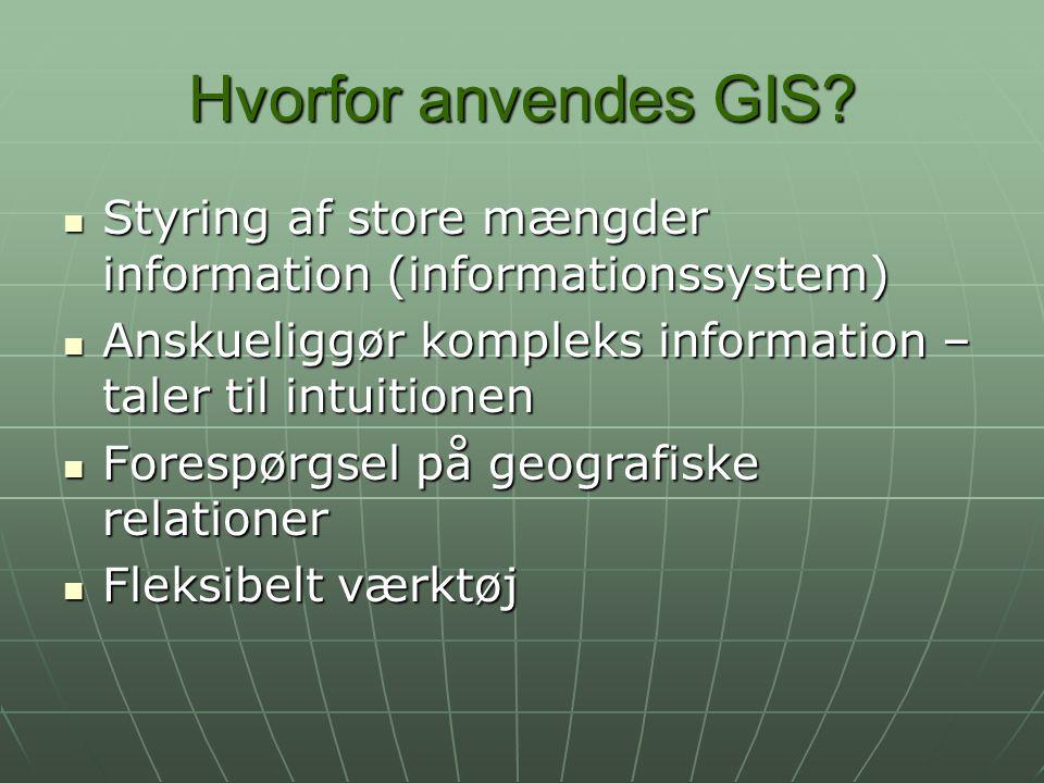 Hvorfor anvendes GIS Styring af store mængder information (informationssystem) Anskueliggør kompleks information – taler til intuitionen.