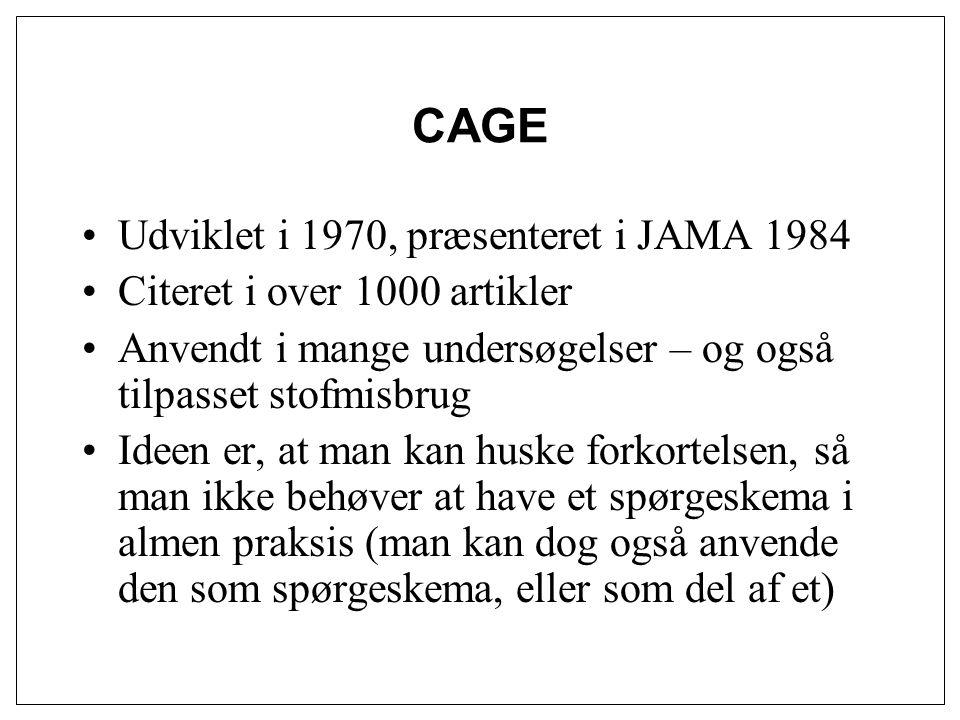 CAGE Udviklet i 1970, præsenteret i JAMA 1984