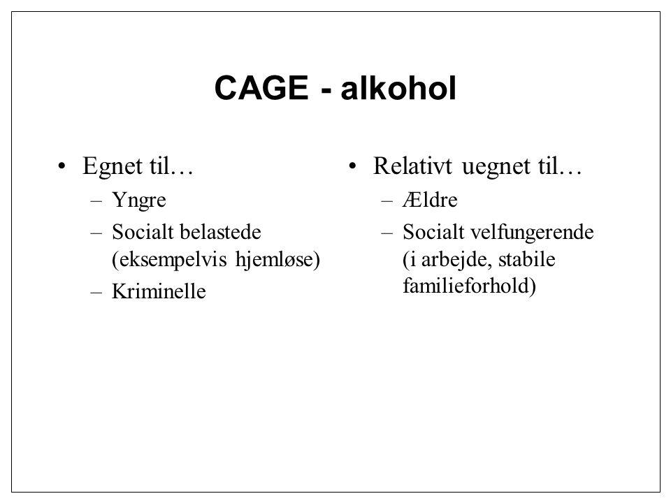 CAGE - alkohol Egnet til… Relativt uegnet til… Yngre
