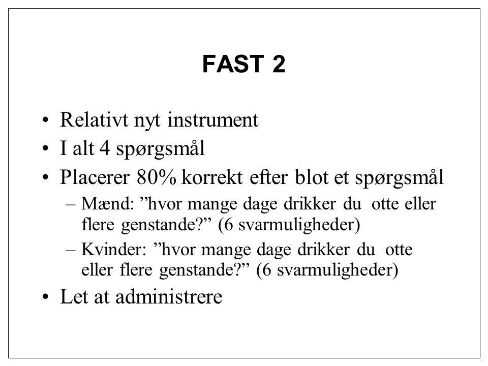 FAST 2 Relativt nyt instrument I alt 4 spørgsmål